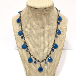"""Blue stone silver necklace with blue crystals 18"""""""